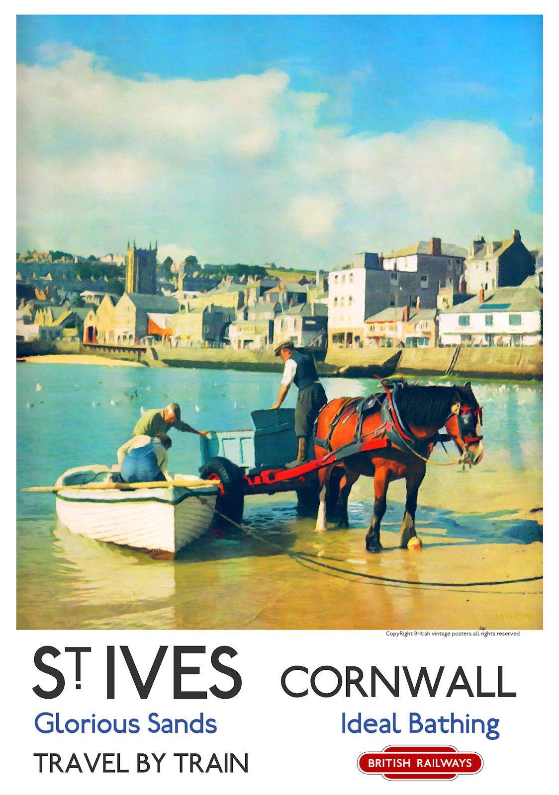 Vintage Style Railway Poster Polperro Cornwall A4//A3//A2 Print