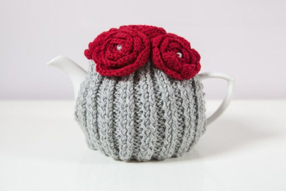 Silver Grey Hand Knit Tea Cozy with Red Crocheted Flowers.Teapot ...
