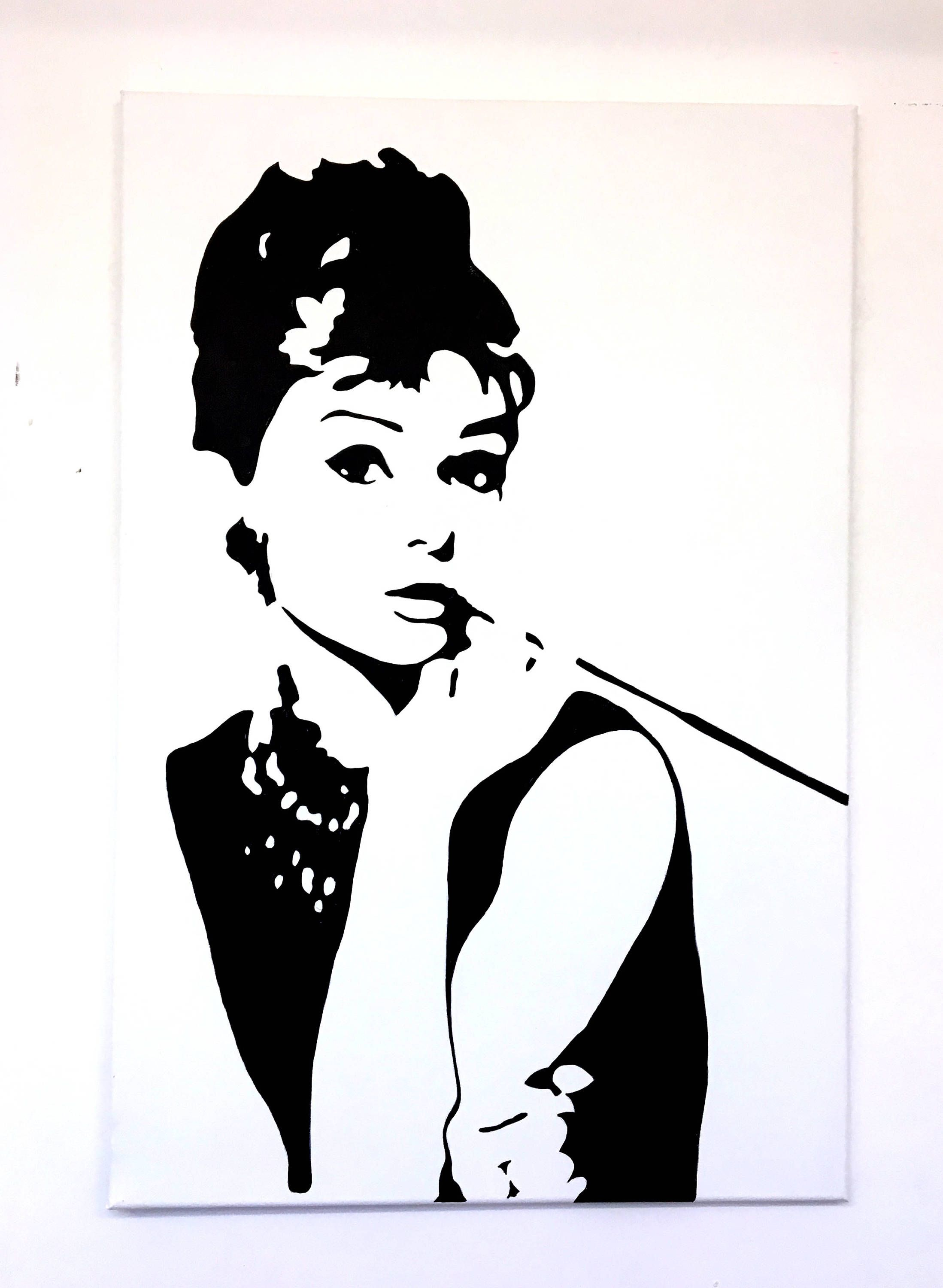 Audrey Hepburn Original Handpainted Framed Pop Art Canvas Painting ...