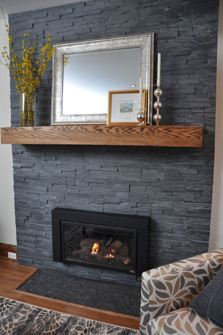 Grey House Home Design Ideas Pictures Remodel And Decor: Painted Stone Fireplace, Home Fireplace, Slate Fireplace
