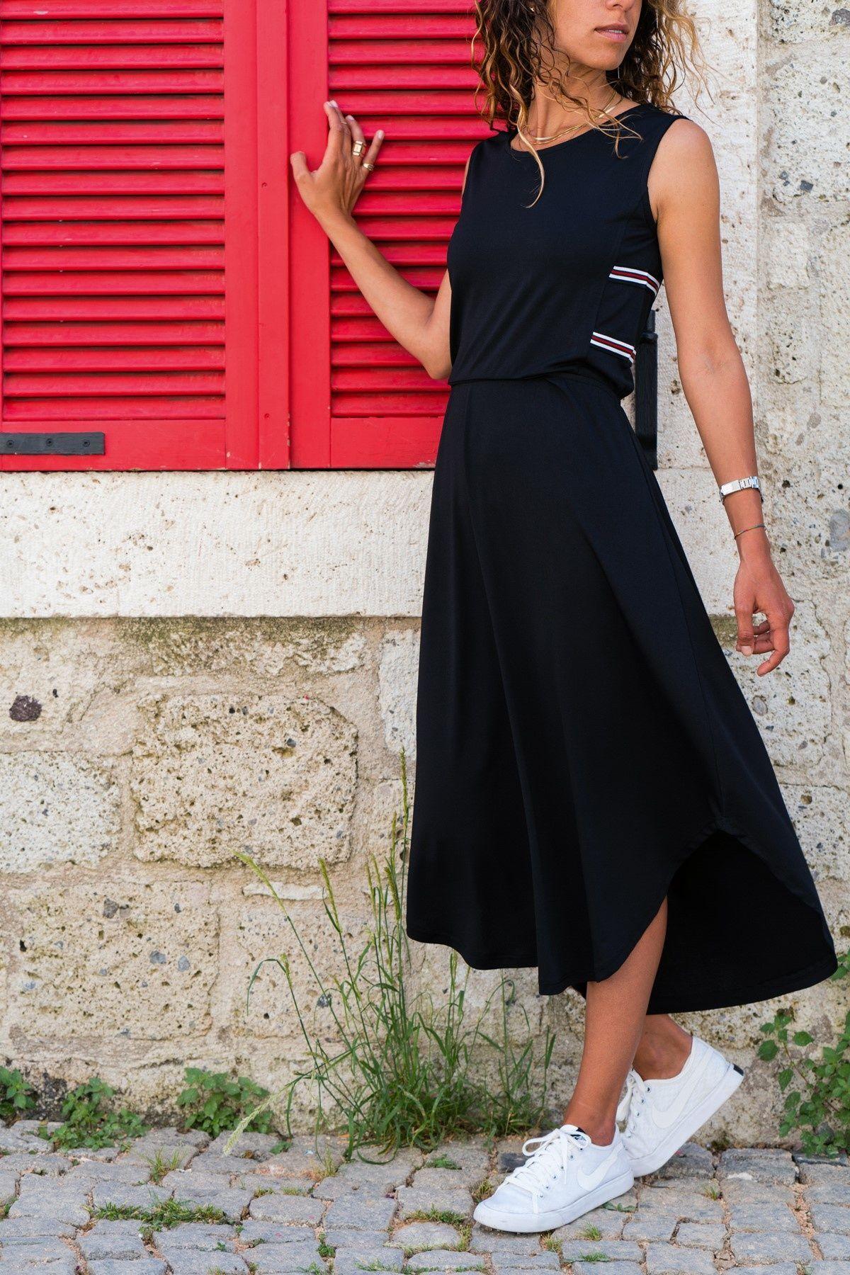 Kadin Siyah Yani Seritli Elbise Trend Alacati Stili Trendyol The Dress Moda Stilleri Elbise