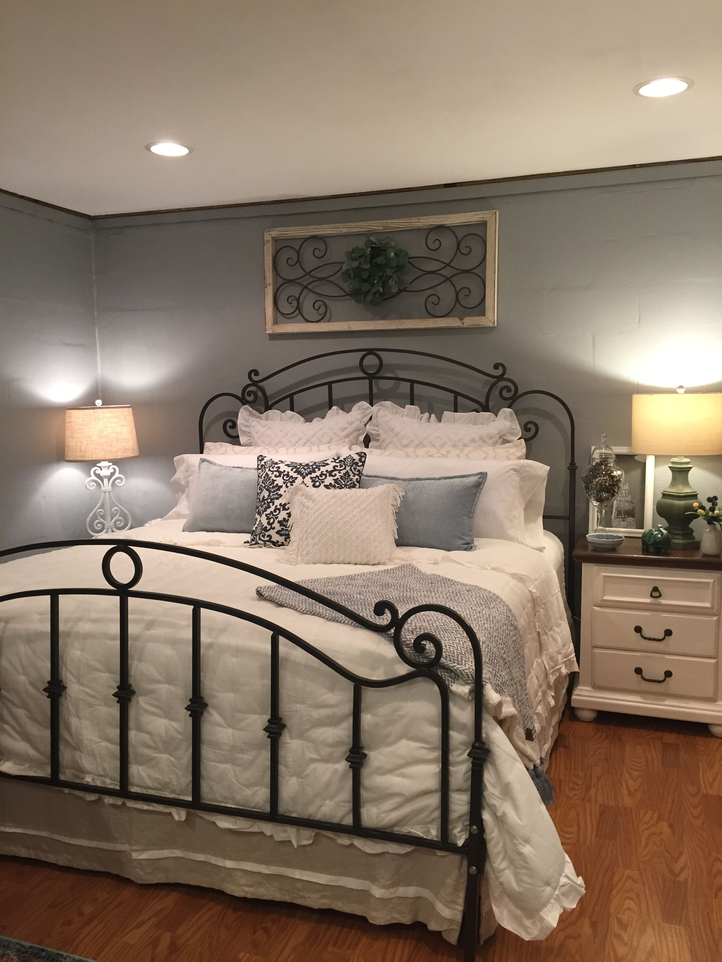 Romantic Bedroom Blue White In 2020 White Iron Beds Wrought Iron Beds Wrought Iron Furniture