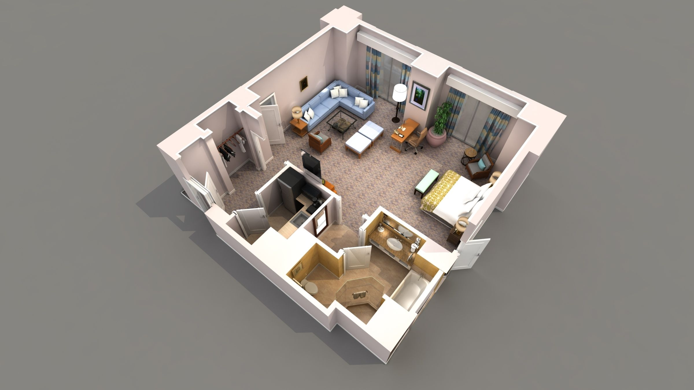 studio apartment 3d floor plan - Google Search | Navy, Hot Pink, and ...