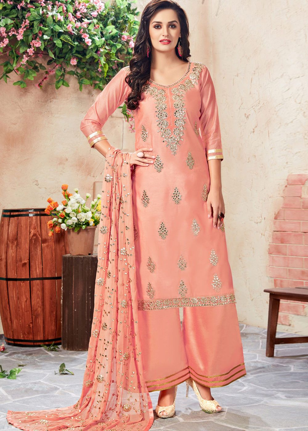 0b0d3668ff Peach quarter sleeved straight cut #chanderi #kameez enhanced by all over gota  patti work.
