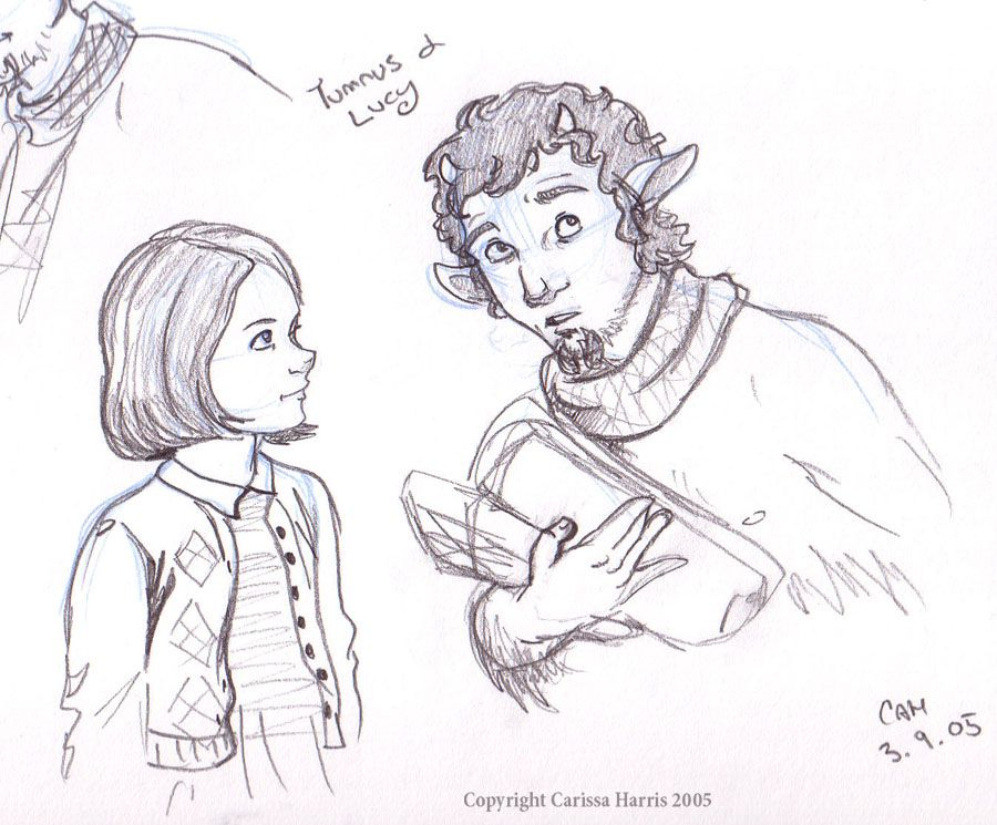 Tumnus and Lucy by tissa Sketches, Chronicles of narnia