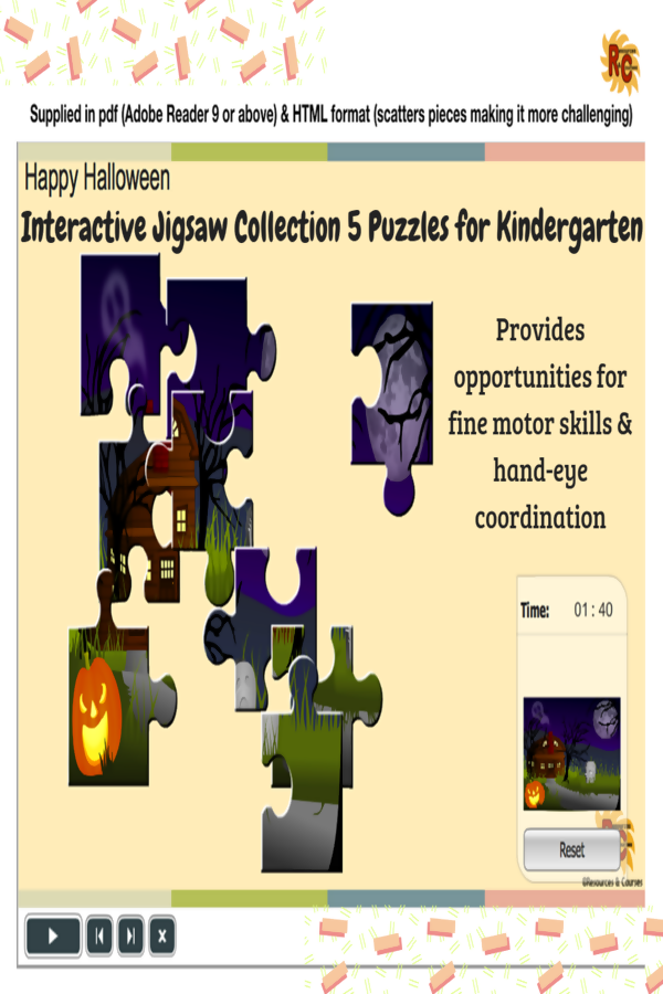 Halloween Themed Interactive Jigsaws Kindergarten Collection Great