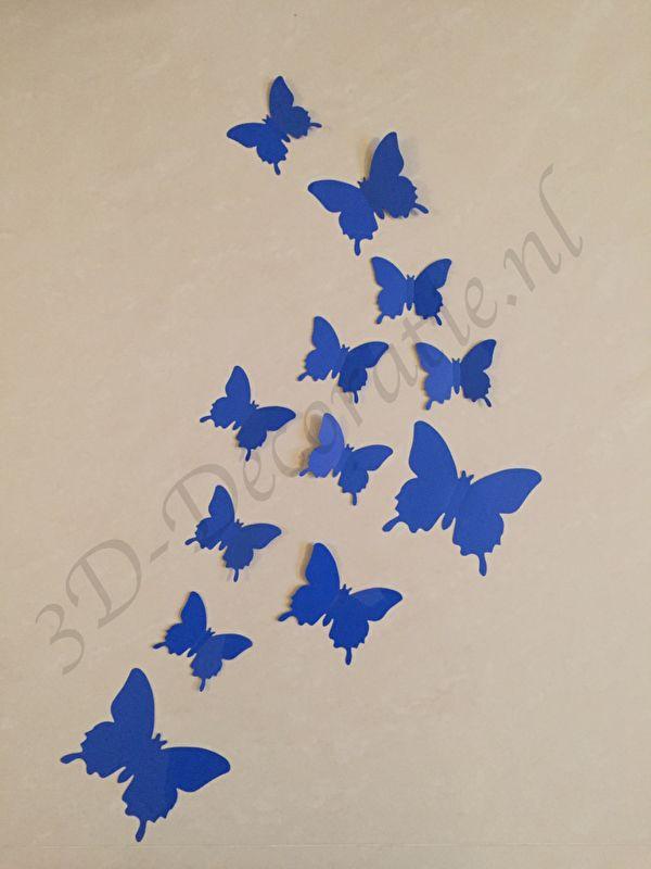 3d Vlinders Donker Blauw 3d Decoratie Vlinders Muurstickers Vlinders En Blauw