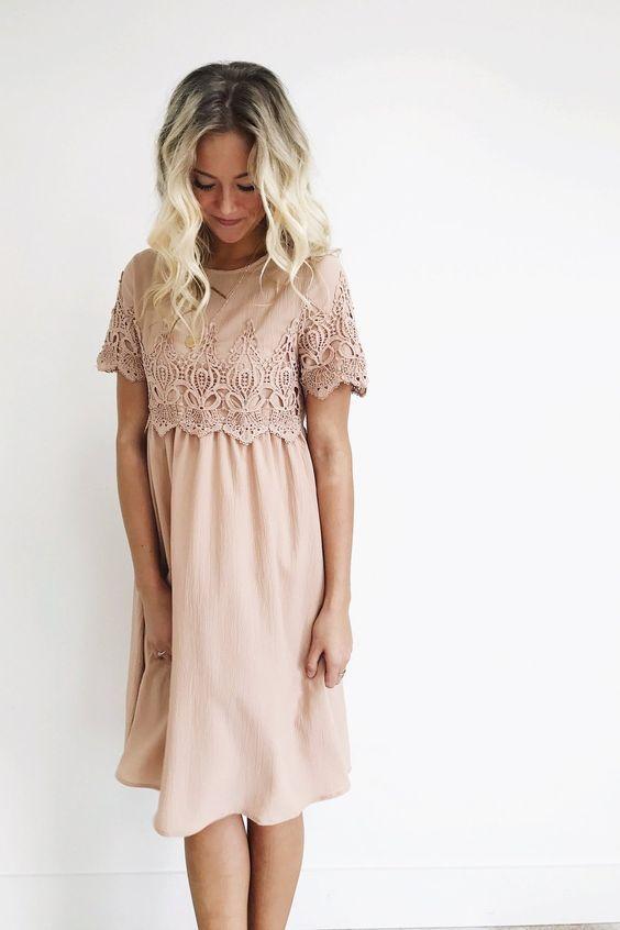 Mauve Midi Dress Babydoll Silhouette Lace Detailing on Sleeve + ...