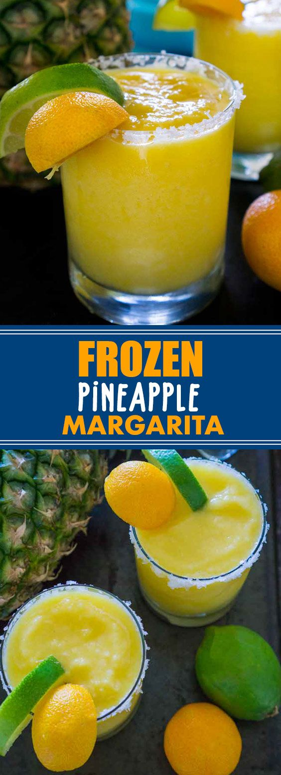 Frozen Pineapple Margarita | Pineapple Frozen Margaritas are the perfect cocktail when those summer days get hot-tequila, orange, pineapple and lime flavors blend perfectly into this frozen cocktail! #pineapple #margarita #drink #alcohol | kitchenpedia.wiki #frozenmargaritarecipes