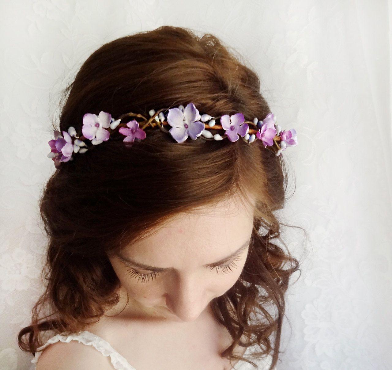 lilac flower hair wreath purple bridal hair by thehoneycomb