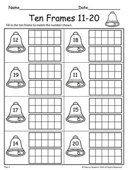 Ten Frames 11 20 Freebie Ten Frames Winter Kindergarten Kindergarten Math