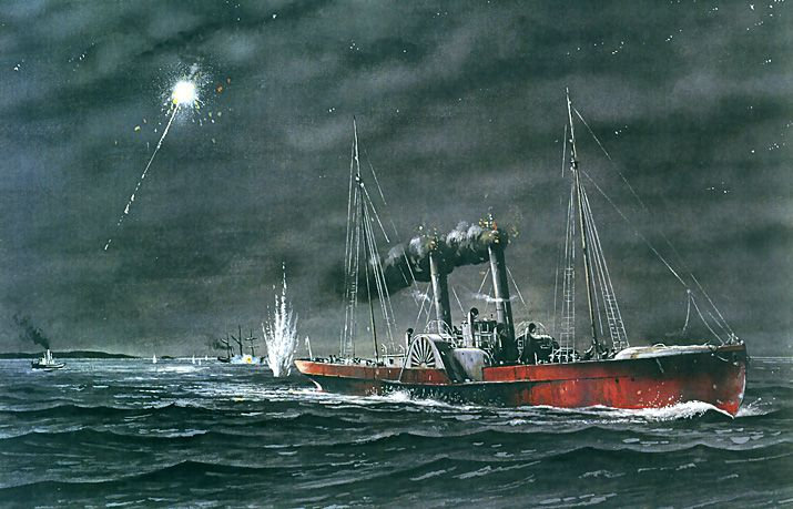 "Modern conjectural illustration of sidewheel blockade runner ""Owl"" running in to Wilmington on a moonless night."