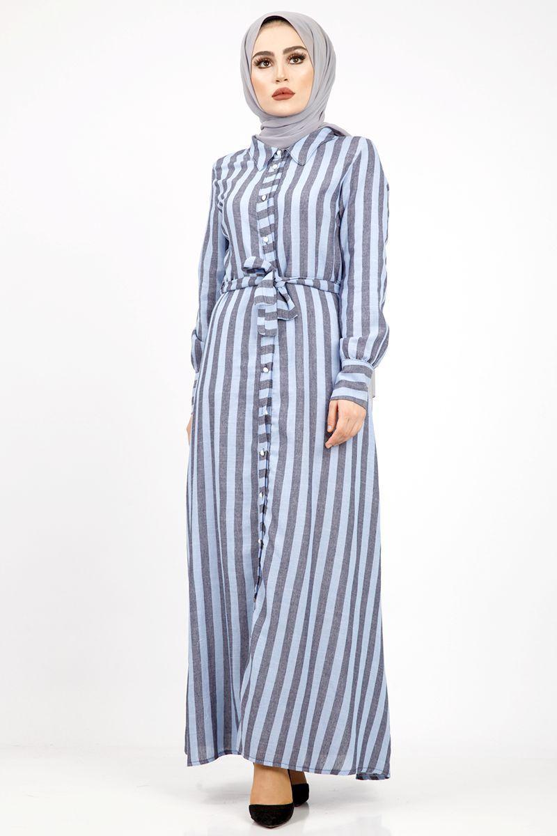 Top Dugmeli Keten Elbise Tsd1505 Mavi Elbise Gomlek Elbise Moda Stilleri
