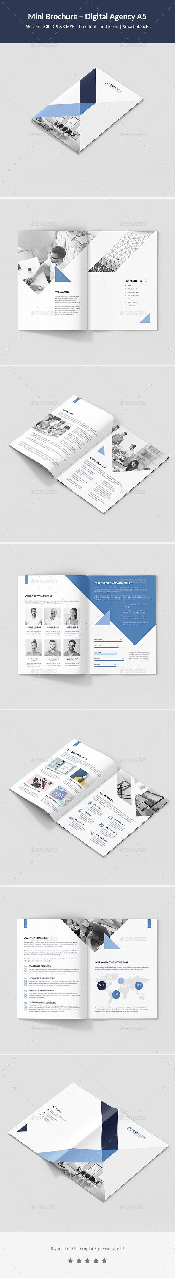 Mini Brochure Digital Agency A5 Brochure Template Brochures And A5