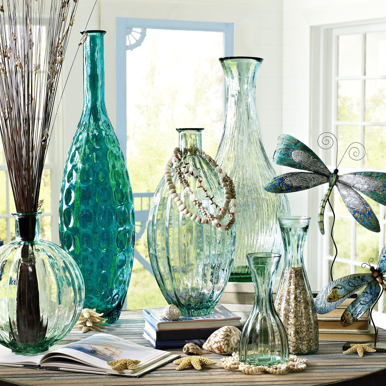 Love this peacock blue recycled glass vase crate pier pottery vases from pier 1 floridaeventfo Choice Image