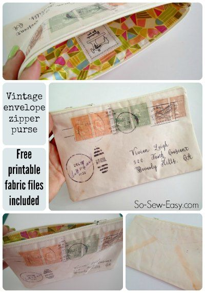 Vintage envelope zipper pouch - print your own fabric - So Sew Easy