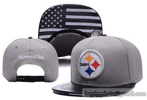 116f64e39a734 NFL Pittsburgh Steelers Snapback Hats Gray Brimunder USA Flag Visor Leather