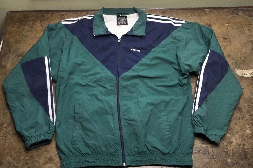 Adidas Windbreaker Jacket Vintage 3 Stripe Green Blue Coat