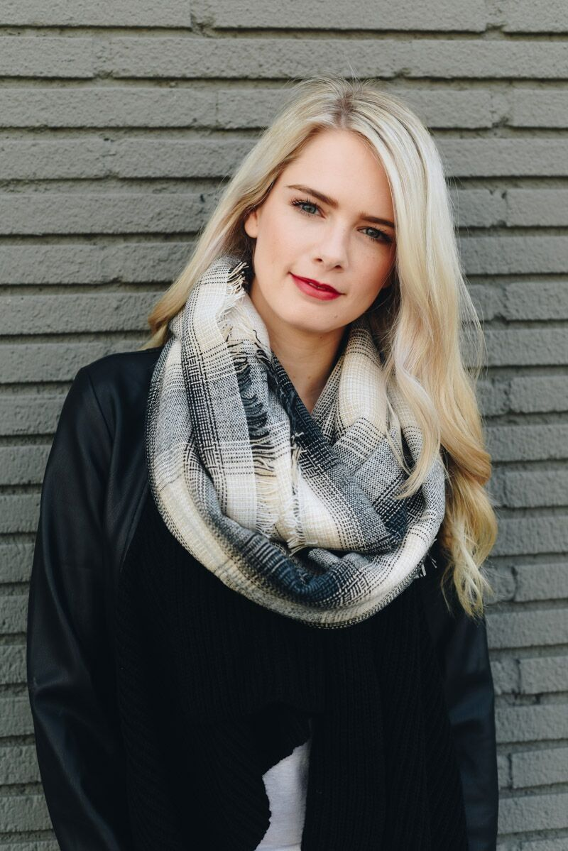 19be988aa63c0 leto wholesale lightweight plaid frayed edge infinity scarf fall winter