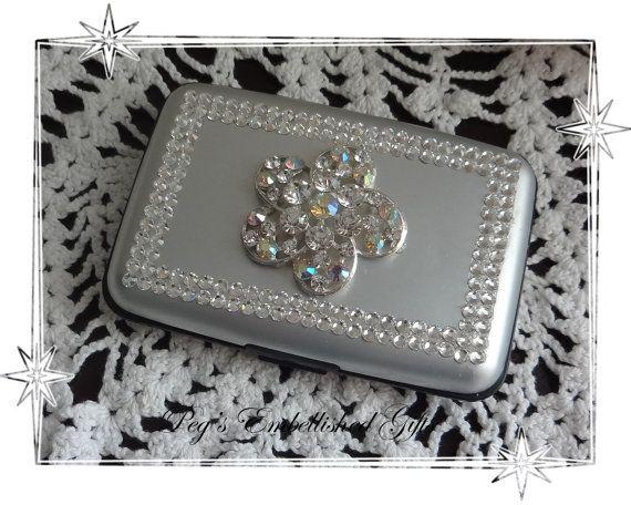 Swarovski Rhinestone Credit Card Case Rfid Silver