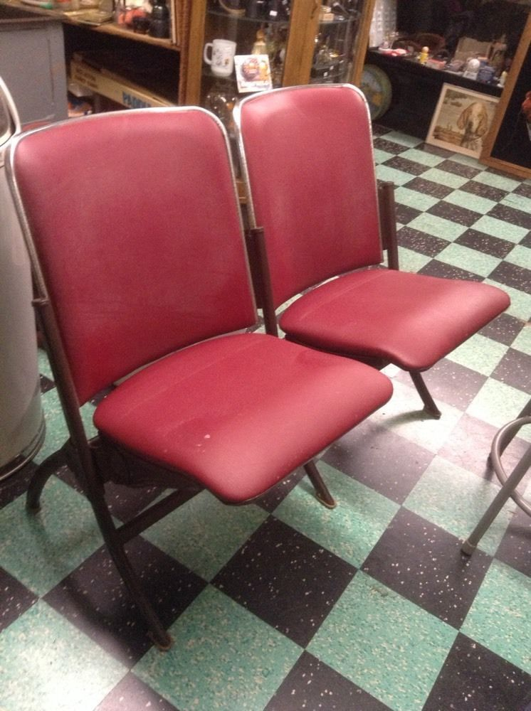 2 Side By Side Vintage Haywood Wakefield Theatre Seats - Fold Up ...