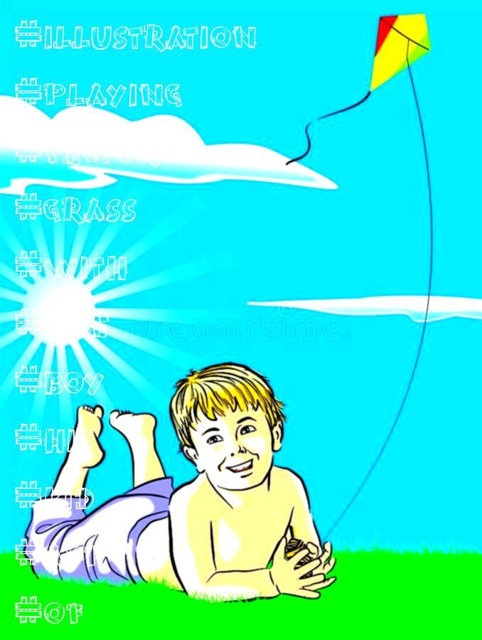 with his kite Vector illustration of a kid playing with his kite in a grass Boy with his kite Vector illustration of a kid playing with his kite in a grass  Convenient us...