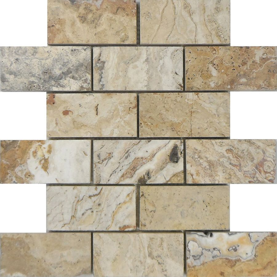 Brick Tile Flooring At Lowe S : Shop allen roth beige honed natural stone mosaic subway
