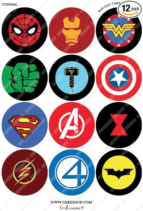 cakeshop 12 x pre cut superhero logo edible cake toppers premium wafer paper cake cookie. Black Bedroom Furniture Sets. Home Design Ideas