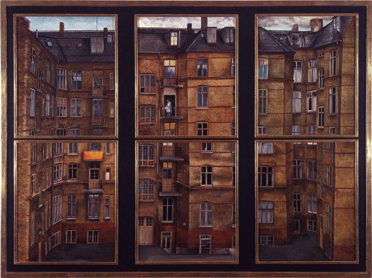 Niels Strøbek  Nr. 25. 1970. Gårdparti i seks dele. Olie og tempera på plade. Hver del. 48 x 40 cm. Horsens Kunstmuseum