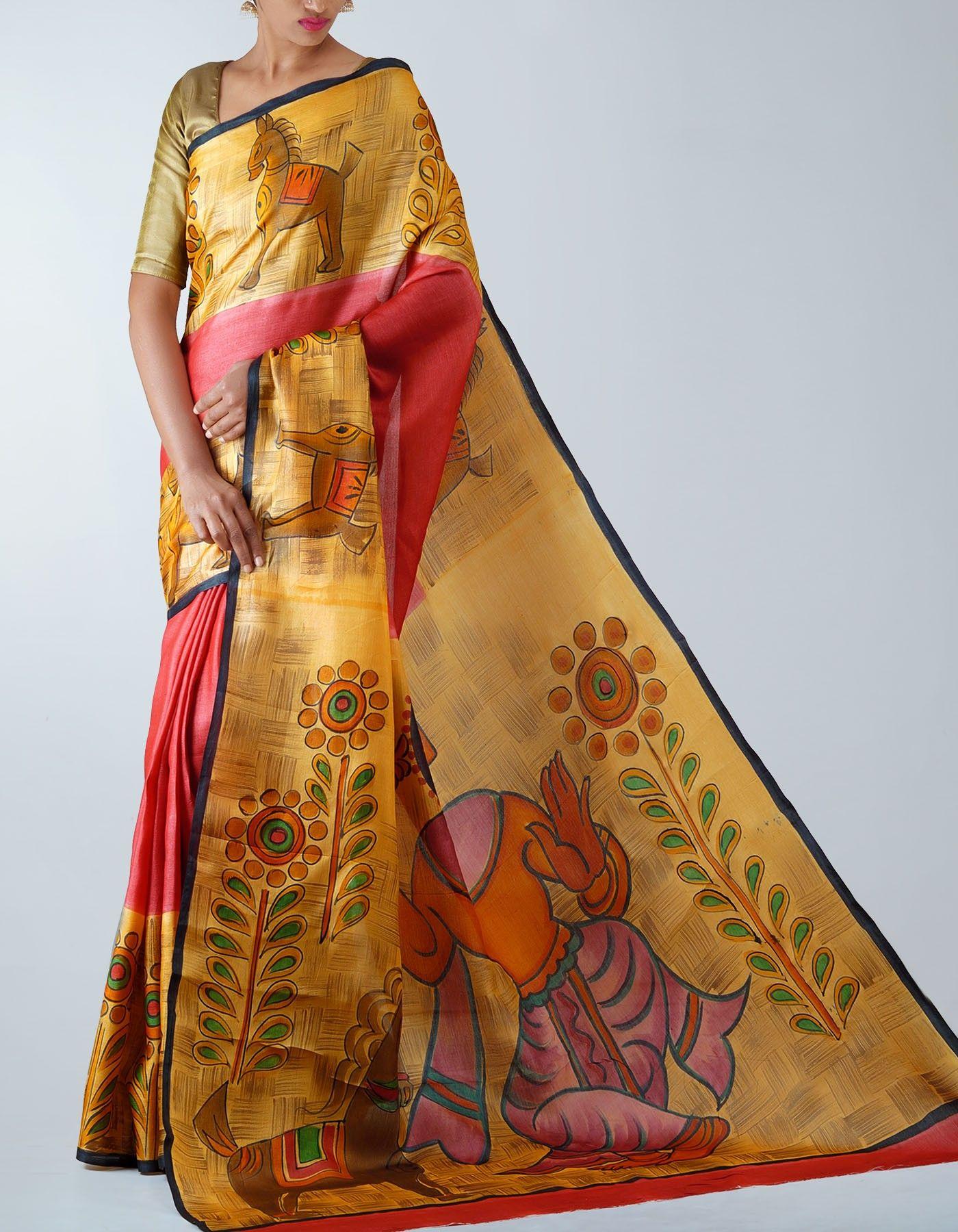 7a0844a335 Red Pure Handloom Tussar Silk saree,It has got women dance posture modern  art cream