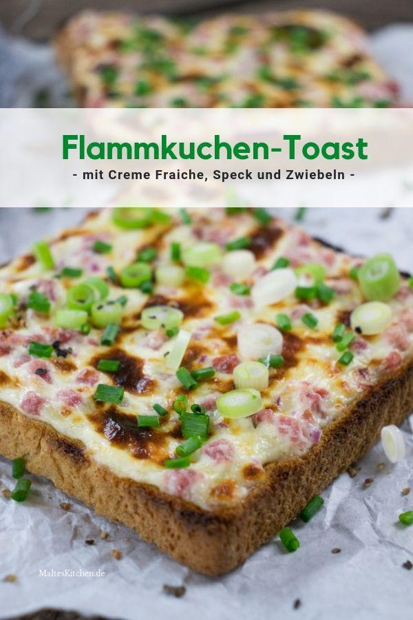 Photo of Flammkuchen-Toast mit Creme Fraiche, Speck und Zwiebeln