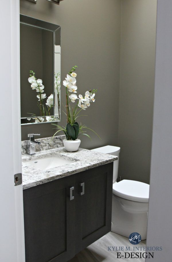 Small bathroom powder room in Sherwin Williams Anonymous with Cambria Bellingham quartz countertop and dark wood vanity. Kylie M INteriors Edesign, paint colour expert