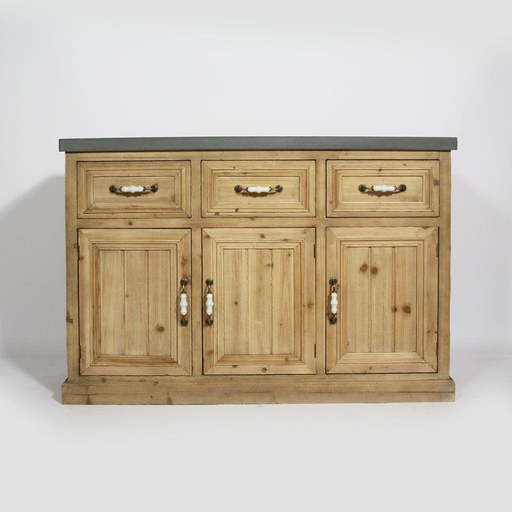 Buffet 3 portes 3 tiroirs ARPEGE en vieux pin naturel avec son ...