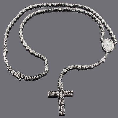 Black Diamond Rosary Necklace Chain 31 55ct Black Diamond Necklace Silver Diamond Cross Necklace Custom Diamond Jewelry