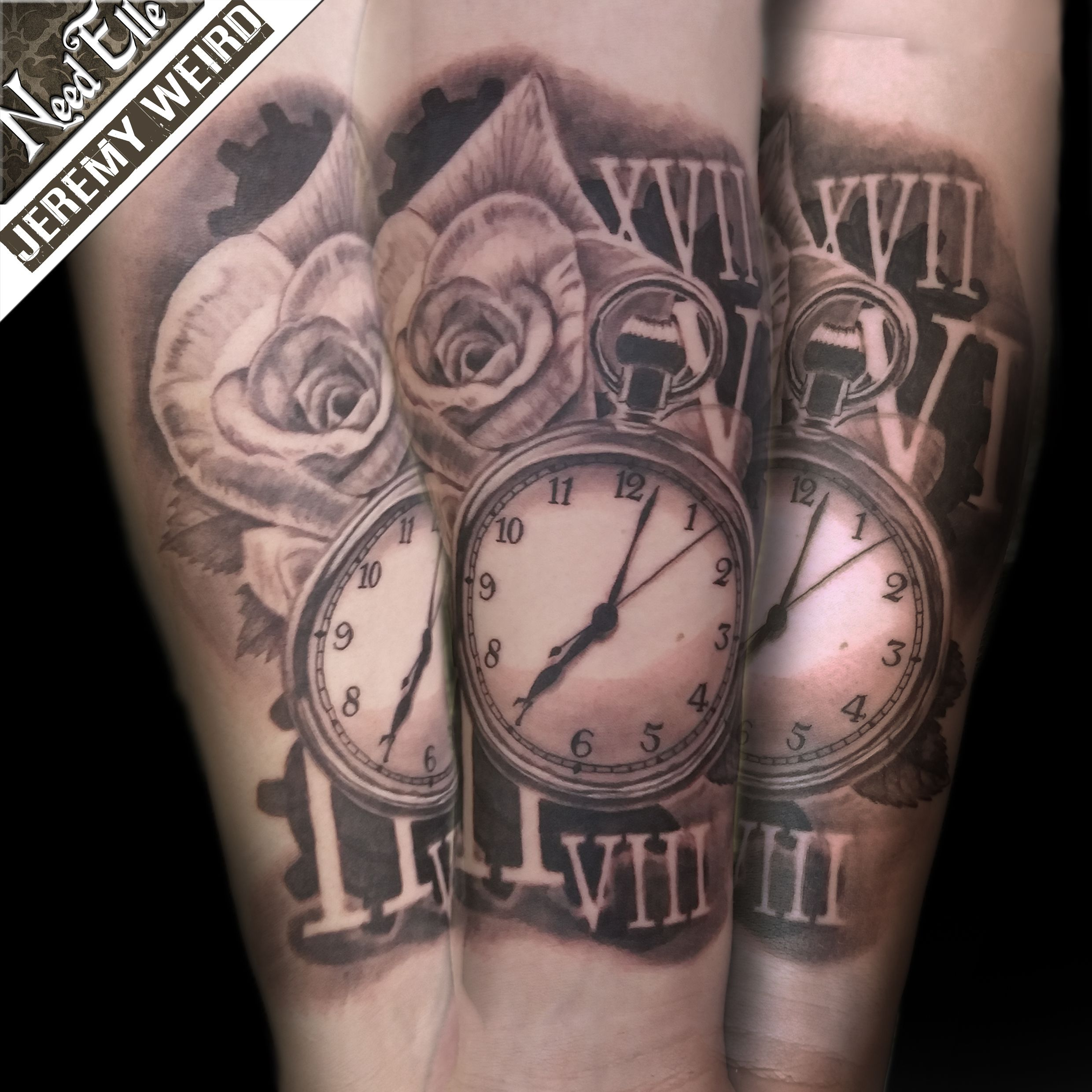 antic watch and rose tattoo by jeremy weird tatouage montre gousset rose et chiffres romains. Black Bedroom Furniture Sets. Home Design Ideas