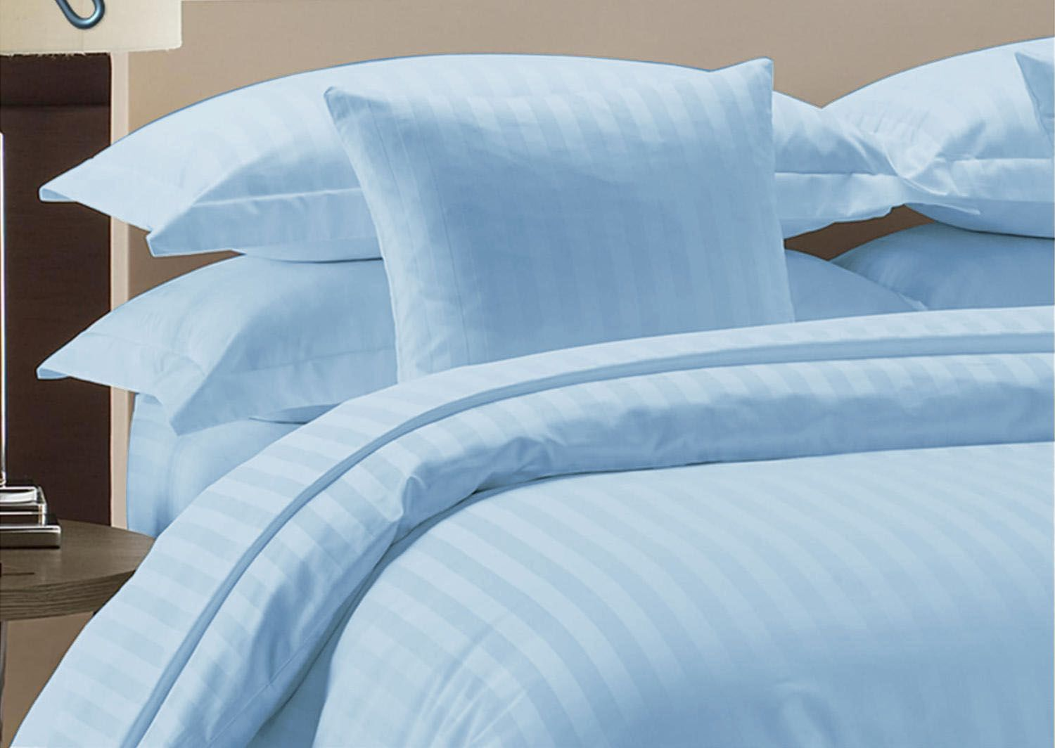 SAGE STRIPED US-SIZES SHEETSET//DUVET SET//FITTED//FLAT 1000TC 100/%EGYPTIAN COTTON