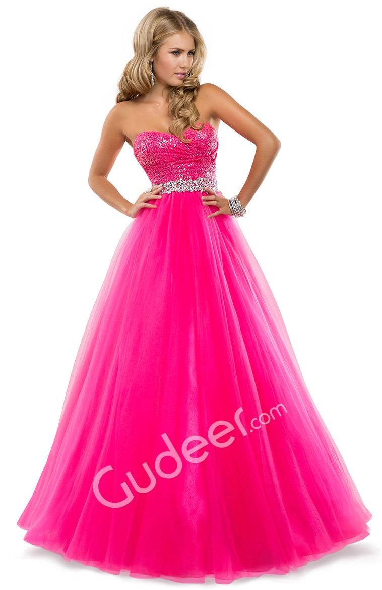 Hot pink homecoming dress  Strapless Prom Full Length Sequin Tulle Ball Gown  Prom Dresses
