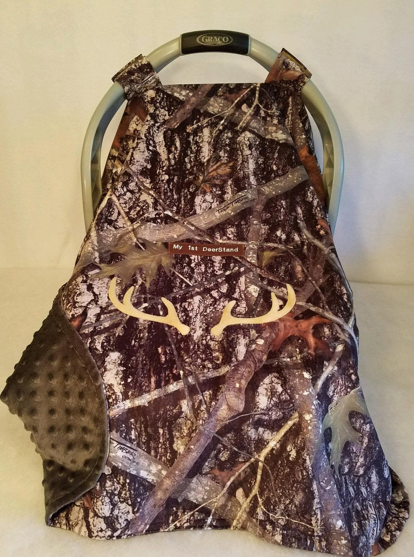Boys Personalized carseat canopy CAMO