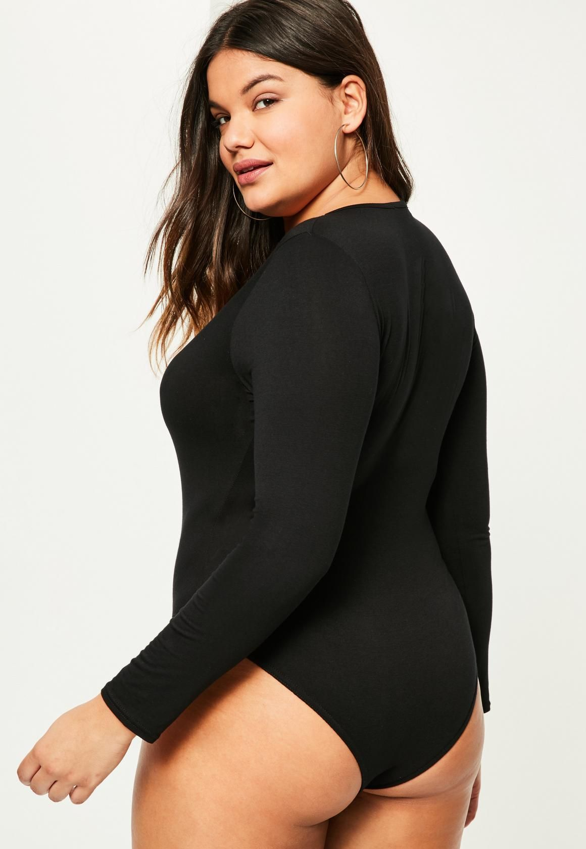 Missguided plus size black long sleeve crew neck