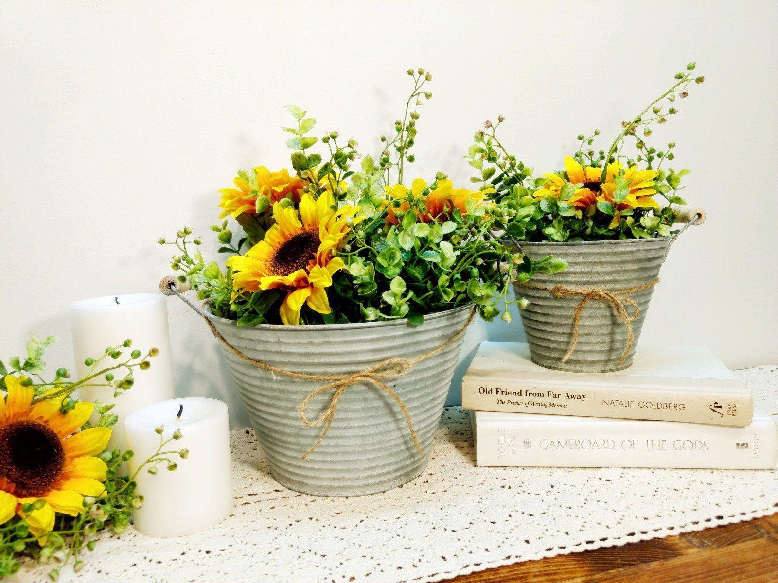 Flower Pot With Sunflowers Planter Pot Rustic Planter With Handles Sunflowers Rustic Flower Pot Home Decor She Flower Pots Rustic Planters Rustic Flowers