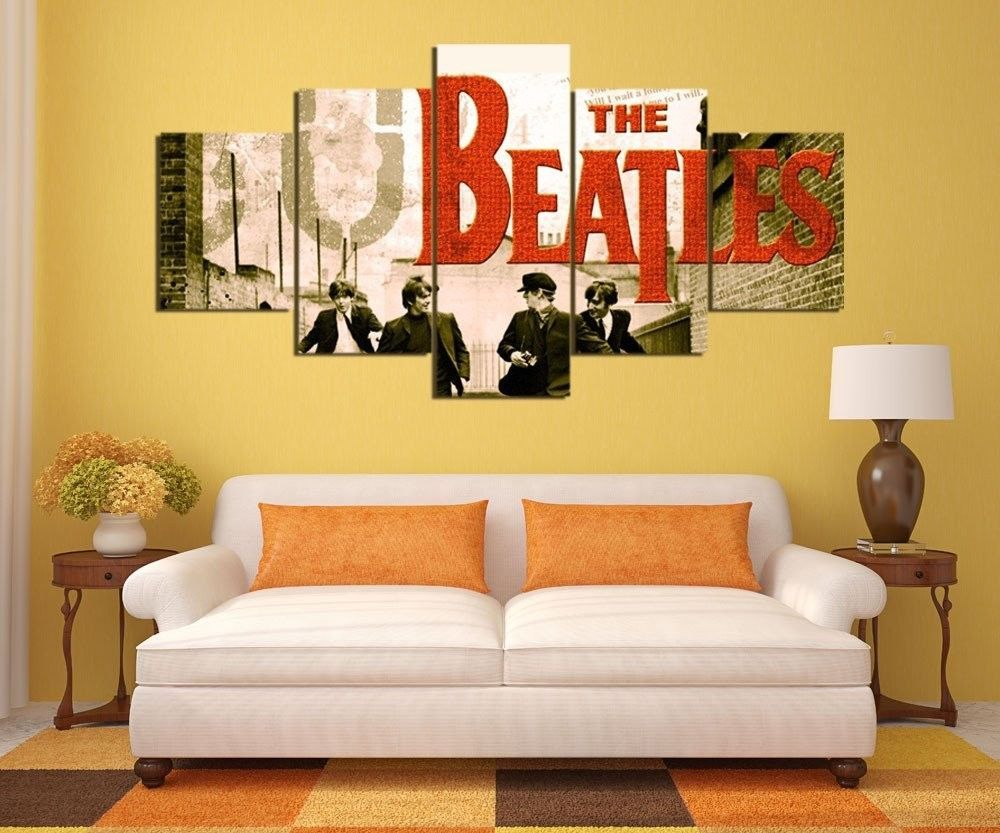 The Beatles Band Rock and Roll Music 5 pcs Painting Canvas Wall Art ...