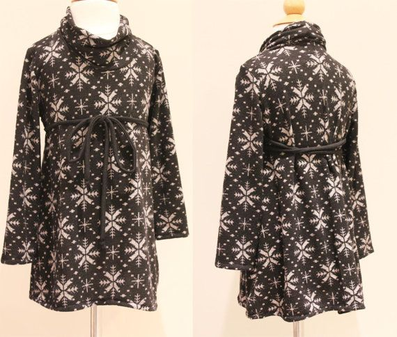 NEW Snowflake Cowl Dress 12m 2T 3T 4T/5T Black grey sweater knit LIMITED. $35.00, via Etsy.