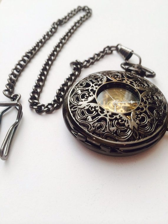 Neo Victorian Pocket Watch- Steampunk, Black face Golden gear pocket watch- groomsmen gifts 006