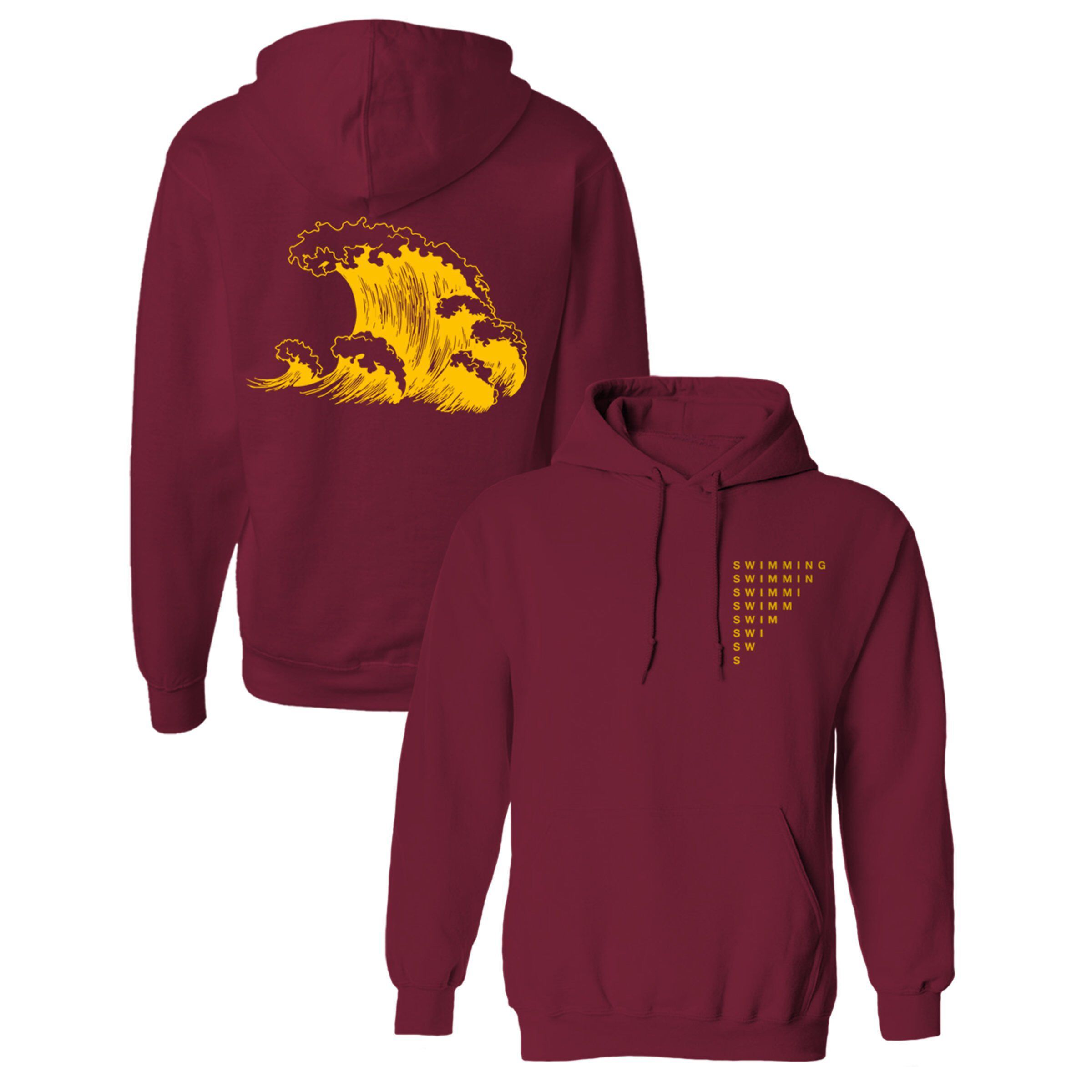 Mac Miller Swimming Wave Hoodie Mac Miller Burgundy Swimming