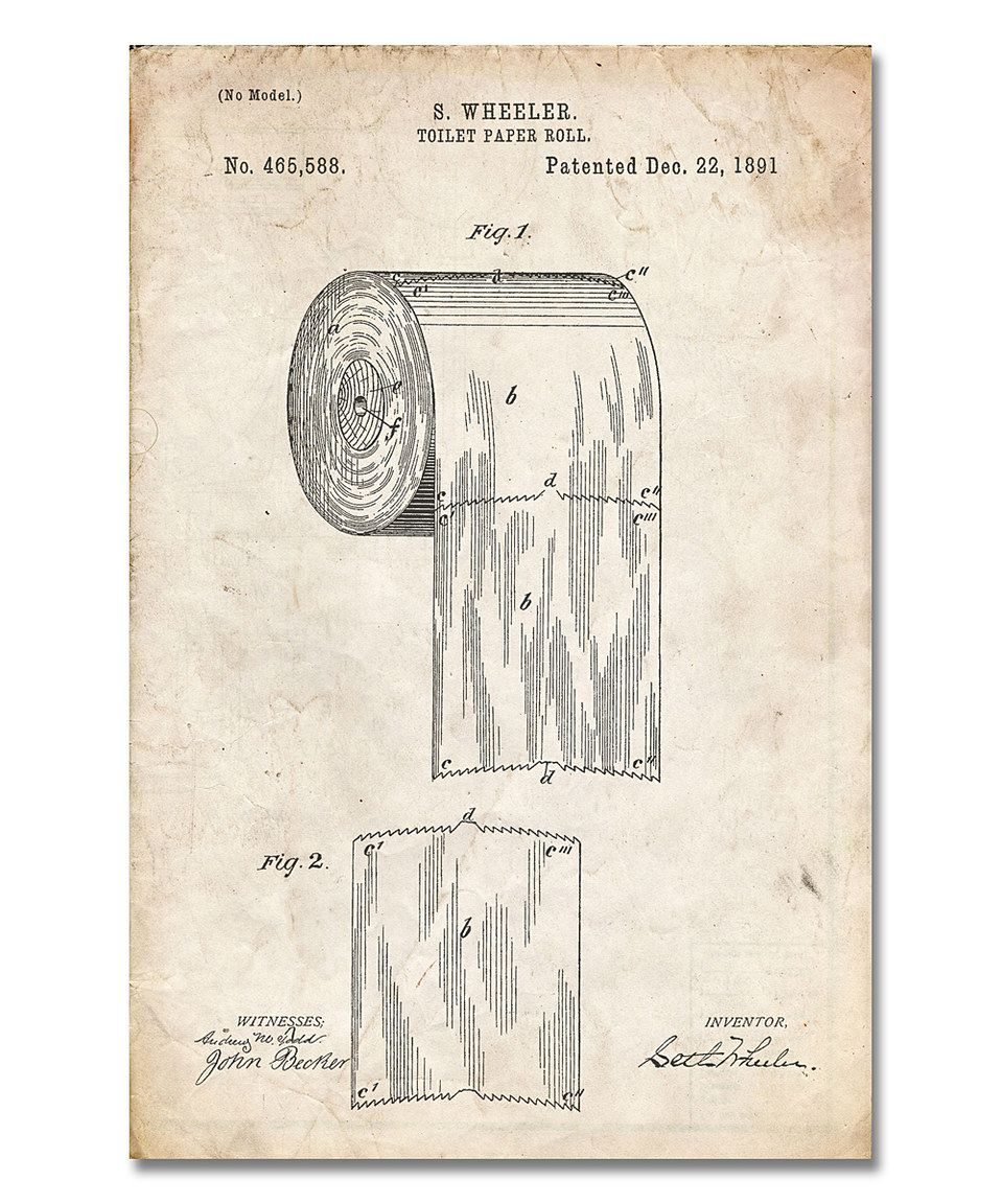 Vintage parchment toilet paper patent print by patent for Vintage bathroom printables