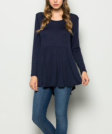 Love this Navy Hi-Low Babydoll Tunic - Plus on #zulily! #zulilyfinds
