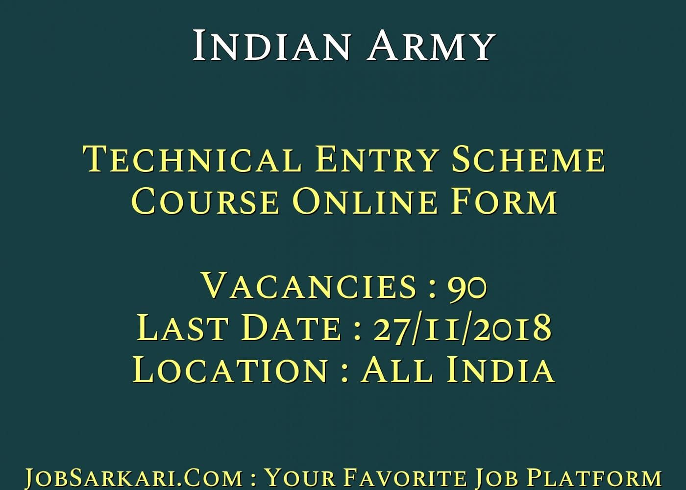 Indian Army Technical Entry Scheme Course Online Form