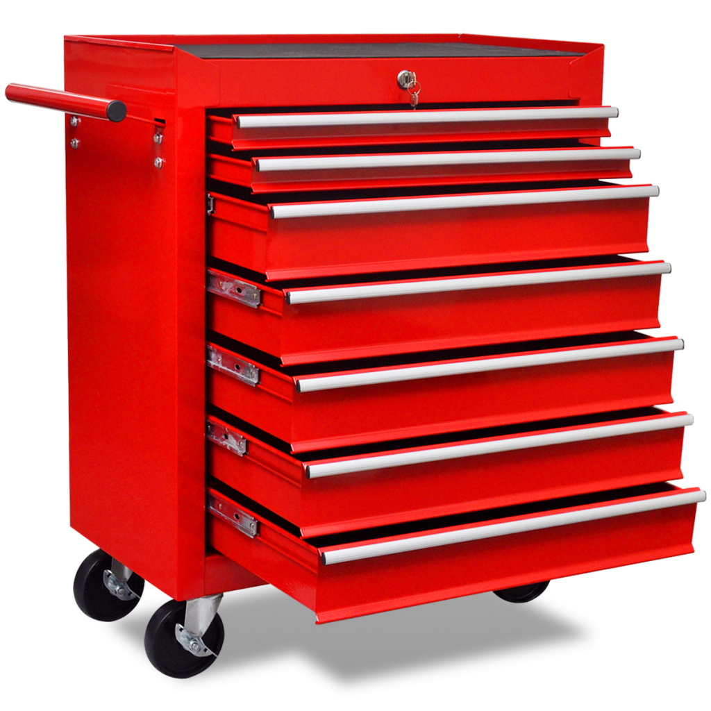 Red Workshop Tool Trolley 7 Drawers Tool Storage Diy Mechanic Tools Storage Boxes