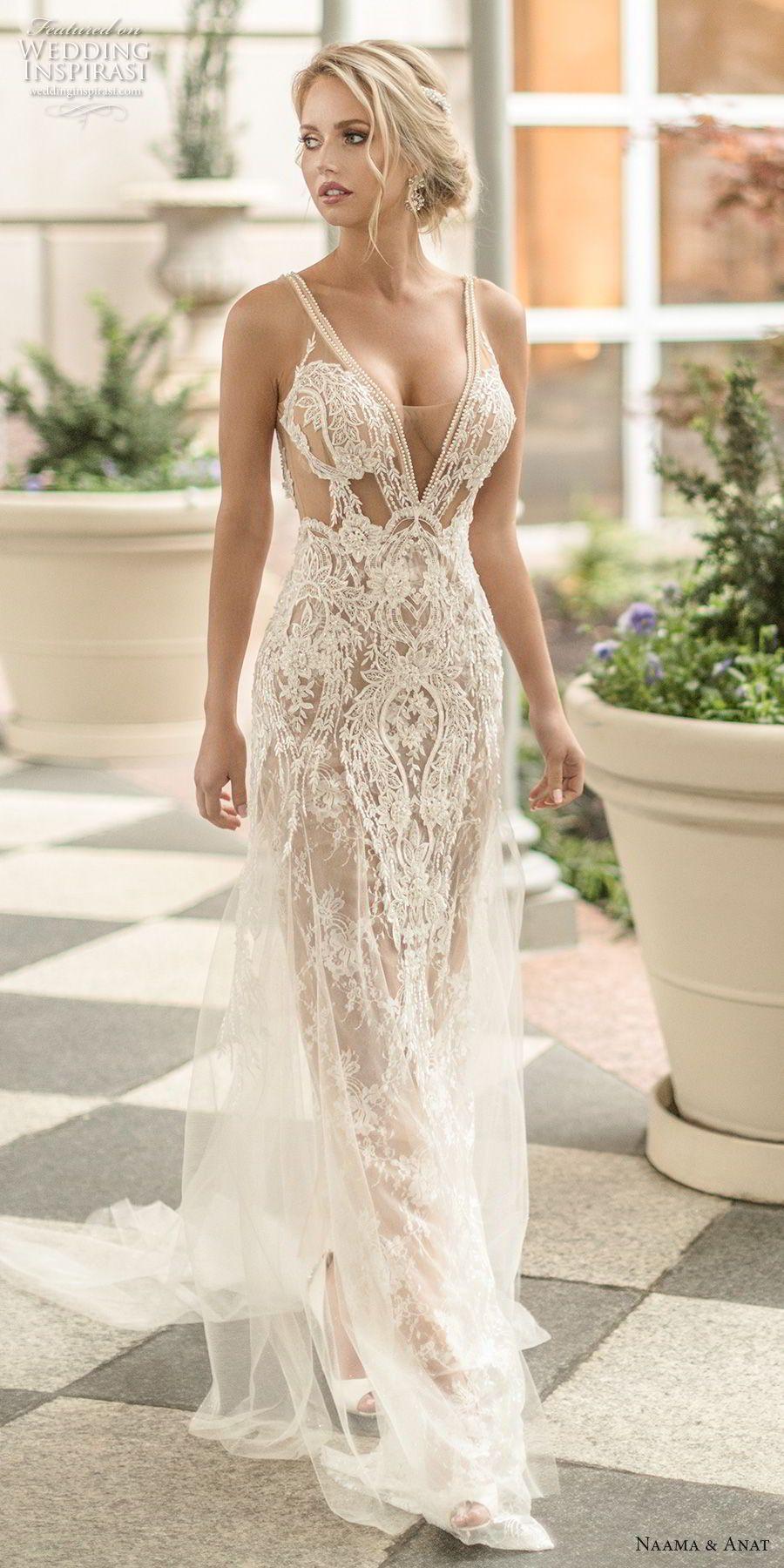 Naama Anat Frühling 2019 Braut ärmellos Mit Gurt Tief V Hals Voller  Verschönerung Sexy Glamourösen Mantel