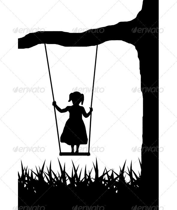Swing Silhouettes People Characters Isolated Illustration Vector Template Girl Silhouette Pictures Silhouette Art Silhouette Images